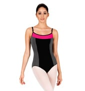 V-Back Tri-Color Block Camisole Leotard