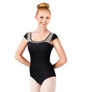 Adult Metallic Lace Cap Sleeve Leotard