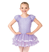 Child Short Sleeve Floral Mesh Tutu Dress