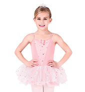 Child Camisole Dress With Glitter Flower Overlay