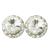 15mm Clip-On Crystal Earrings
