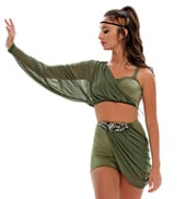 Adult/Girls Ship to Wreck Long Mesh Drape Costume Set with Rhinestones