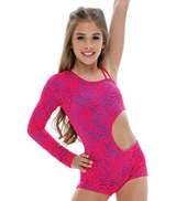 Adult Body Language Asymmetrical Unitard without Rhinestones