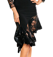 Lace Asymmetric Flounced Skirt