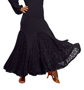 Ladies Long Lace Godet Skirt