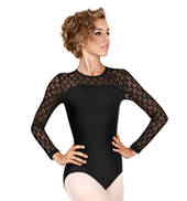 Adult Silkteck & Lace Long Sleeve Leotard