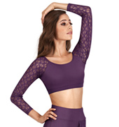 Adult Lace Long Sleeve Midriff Top