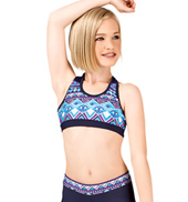 Girls Navy Aztec Print Tank Bra Top