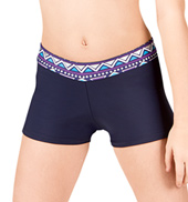 Girls Navy Aztec Print Waist Dance Shorts