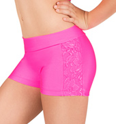 Girls Lace Insert Dance Shorts