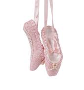 Pink Glitter Porcelain Pointe Shoe Ornament