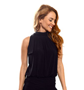 Ladies Tank Blouson Top with Shawl Collar