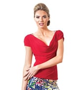 Adult Draped Short Sleeve Ballroom Top