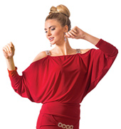 Adult Long Sleeve Blouson Ballroom Top