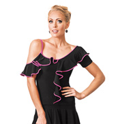 Adult Ruffle Short Sleeve Ballroom Top