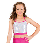 Girls Sequin Cross Back Camisole Bra Top