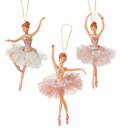 Pink Sequin Ballerina Ornament - Set of 3
