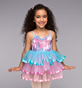 Pastel Rainbow Girls 3-Tier Dress