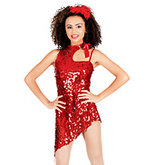 Red Hot Adult Asymmetrical Sequin Dress
