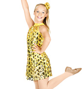 Heart of Gold Child Sequin Overdress and Shorty Unitard