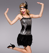 Gatsby Adult Sequin & Feather Dress