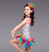 Hey Mambo Girls Sequin & Feather Dress