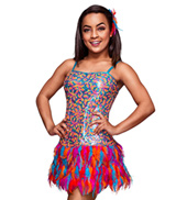 Copacabana Adult Sequin & Feather Dress