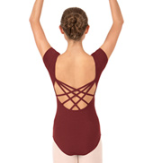 Adult Short Sleeve Strappy Back Leotard