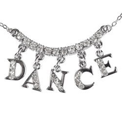 "Rhinestone ""DANCE"" Charm Necklace - Style No 2736A"