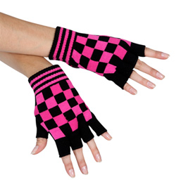 Pink Checkered Fingerless Gloves - Style No 4660C