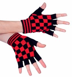 Red and Black Checkered Palm Gloves - Style No 4660E
