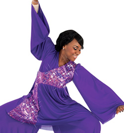 Plus Size Stained Glass Bell Sleeve Praise Wear Tunic - Style No 631XX