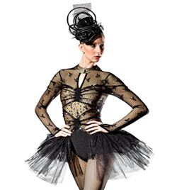 """Follies Bergere"" Adult Long Sleeve Leotard with Bustle - Style No AS1034"