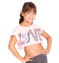 "Child Short Sleeve ""Love"" Crop Top - Style No DA281C"