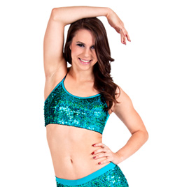 Adult Turquoise Sequin Camisole Bra Top - Style No FD0173