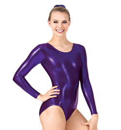Adult Long Sleeve Metallic Gymnastic Leotard - Style No G545