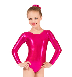 Child Long Sleeve Metallic Gymnastic Leotard - Style No G545C