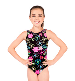 "Child ""Flower Peace"" Velvet Gymnastic Tank Leotard - Style No G546C"
