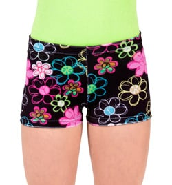 "Child ""Flower Peace"" Velvet Gymnastic Dance Short - Style No G547C"