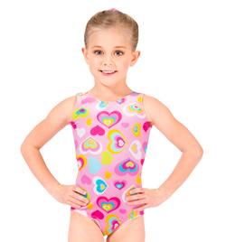 Child Velvet Heart Print Gymnastic Tank Leotard - Style No G549C
