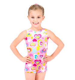 Child Velvet Heart Print Gymnastic Biketard - Style No G550C