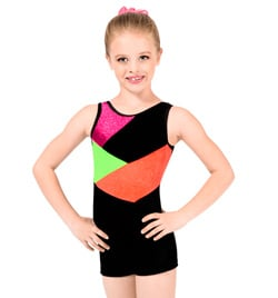 "Child ""Stardust"" Color Block Gymnastic Biketard - Style No G557C"
