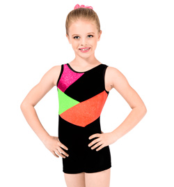 "Child ""Stardust"" Color Block Gymnastic Biketard - Style No G557C"