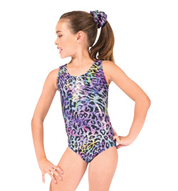 Child Rainbow Cheetah Metallic Gymnastic Tank Leotard - Style No G567C