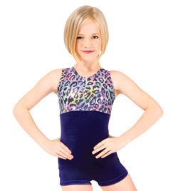 Child Rainbow Cheetah Metallic Gymnastic Biketard - Style No G568C