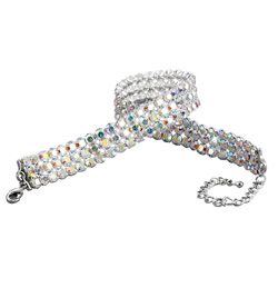 "3-Row Crystal Aurora Borealis 10"" Long Choker - Style No J3RCCAB10-12P"