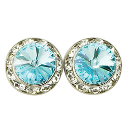 15mm Swarovski Aqua Performance Earrings Pierced - Style No JEAQU15P-6P