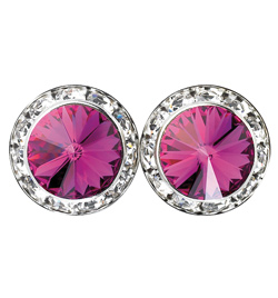15mm Swarovski Fuchsia Performance Earrings Pierced - Style No JEFUC15P-6P