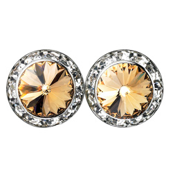 15mm Swarovski Light Colorado Topaz Performance Earrings Pierced - Style No JELCT15P-6P