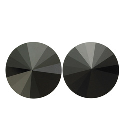 14mm Swarovski Jet Simple Rivoli Earrings Clip-On - Style No JESRJET14C-6P